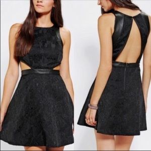 Silence Noise Black Leather Jacquard Cut Out Dress